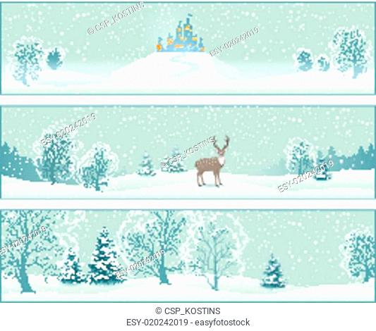 Winter Landscape Vector Banners