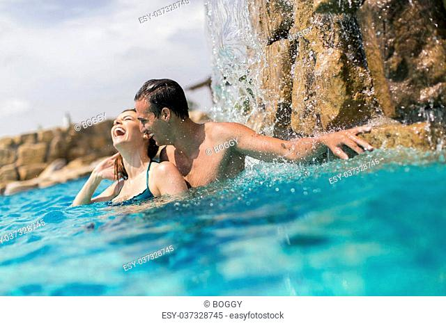 Young people in the swimming pool