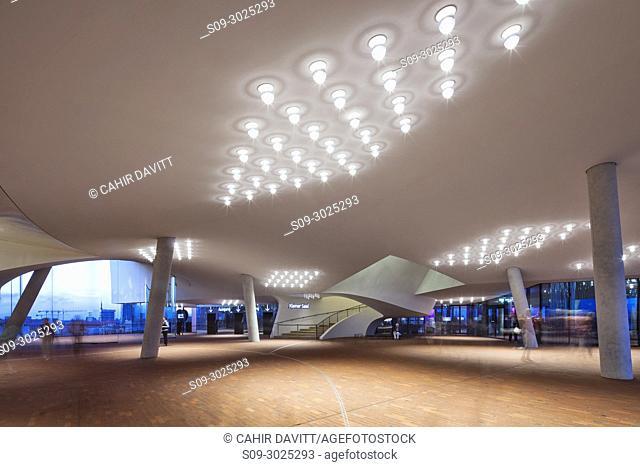 Interior architectural detail of the Elbphilharmonie Hamburg, designed by Herzog & de Meuron Architects, Hamburg Mitte, Hamburg, Germany