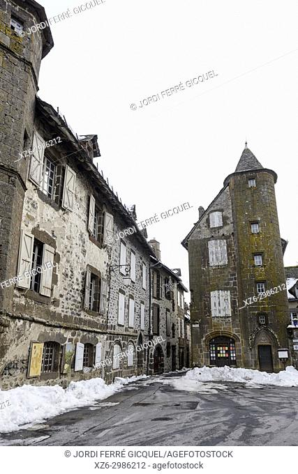 A historic tower on the old house Maison de la Ronade, Salers, Cantal department, France, Europe