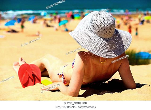51ca78cca23 Woman wearing thong at beach Stock Photos and Images | age fotostock