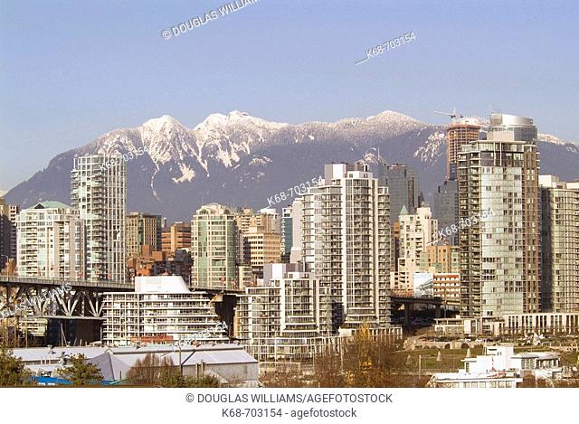 Downtown skyline, mountains, Vancouver, BC, Canada