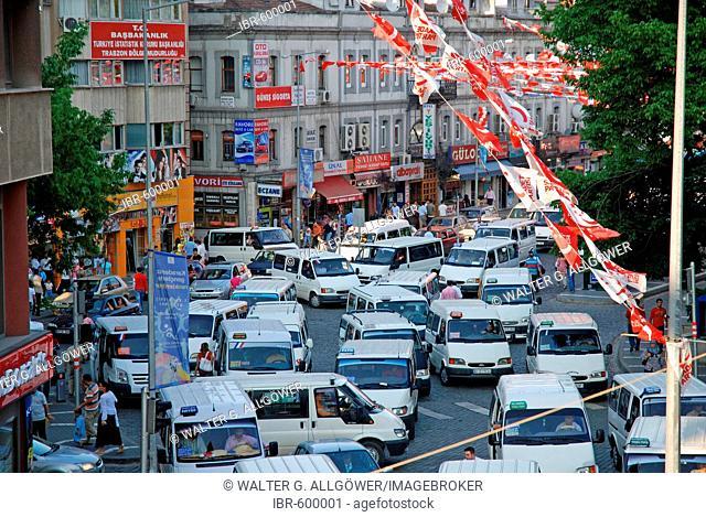 Traffic chaos in Trabzon at the Black Sea coast, Turkey