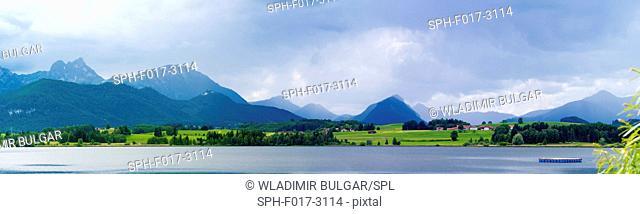 Lake and mountains, panoramic