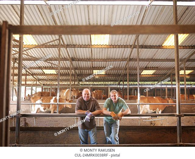 Farmer and son in milking parlor