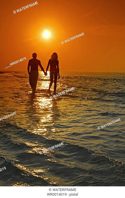 Walk at Sunset, Indian Ocean, Maldives