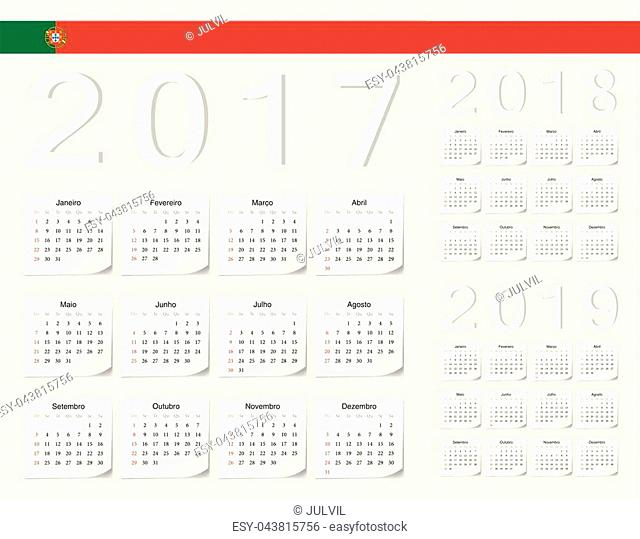 Set of Portuguese 2017, 2018, 2019 vector calendars with shadow angles. Week starts from Sunday