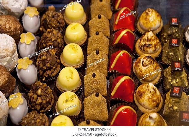 Pralines in Les Halles de Lyon, Gourmet market, Lyon, Rhone Alps, France