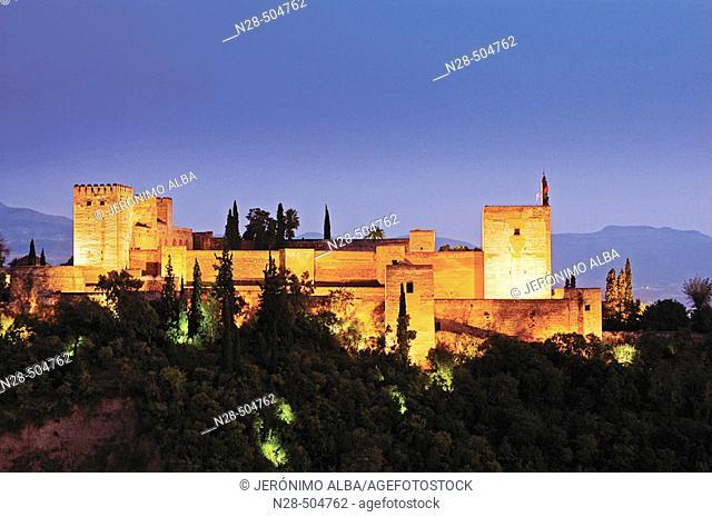 Evening view of the Alhambra from the Mirador de San Nicolas. Granada. Andalucia. Spain