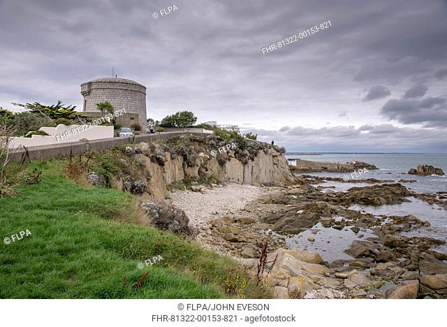 View of coastal promontory and Martello tower, James Joyce Tower and Museum, Forty Foot, Sandycove, Dublin Bay, County Dublin, Ireland, October