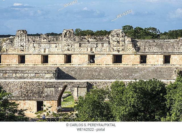Ancient Maya Ruins, Nunnery Quadrangle, Uxmal Archaeological Site, Yucatan, Mexico