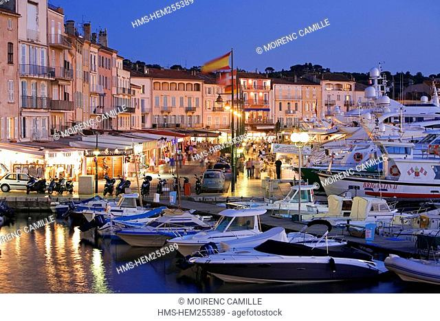 France, Var, Saint Tropez, the old harbour, Quai Jean Jaures
