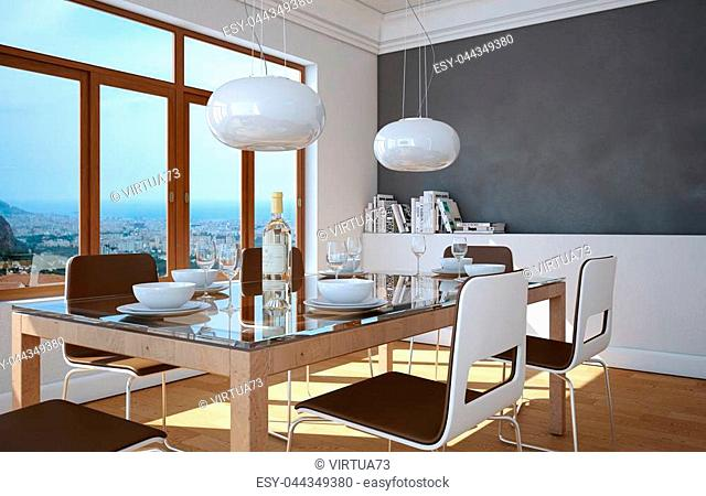 Dining room interior design with grey wall 3D Illustration