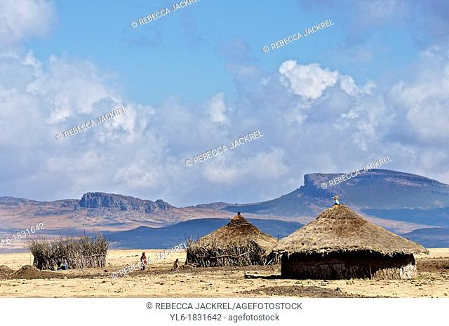 Traditional huts in the Bale Mountains of Ethiopia