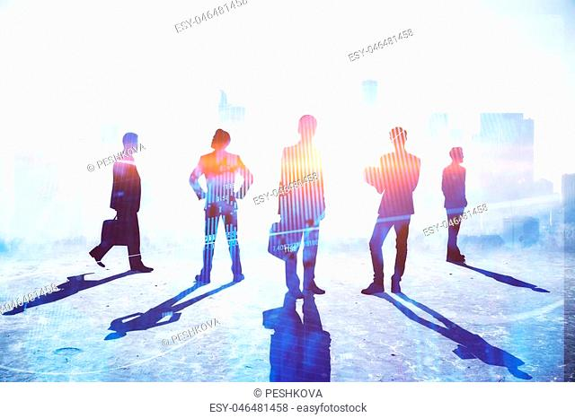 Teamwork, meeting and profit concept. Businesspeople crowd silhouettes on light city office background. Double exposure