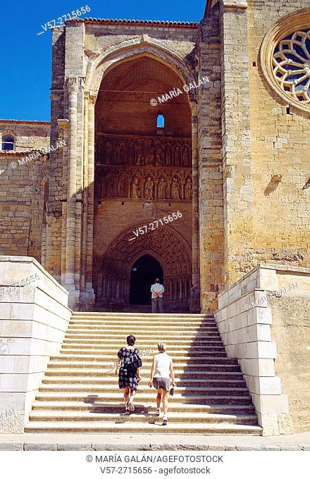 Main facade of Santa Maria la Blanca church. Villalcazar de Sirga, Palencia province, Castilla Leon, Spain