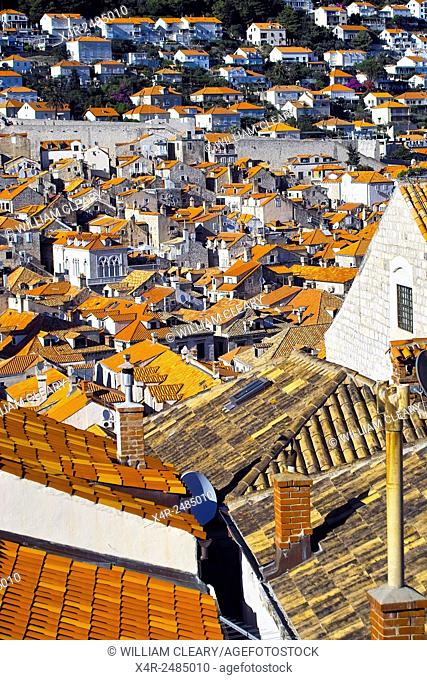 Rooftops of old town Dubrovnik, with new town in the background, Dubrovnik, Croatia