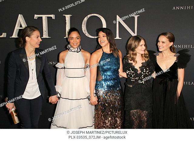 "Tuva Novotny, Tessa Thompson, Gina Rodriguez, Jennifer Jason Leigh, Natalie Portman at the Premiere of Paramount Pictures' """"Annihilation"""" held at the Regency..."