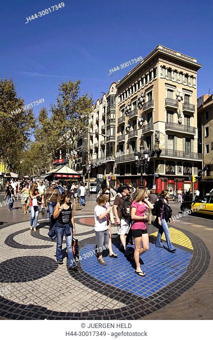 Spain, Catalonia, Catalunya, Barcelona, Ramblas, mosaic by Joan Miro