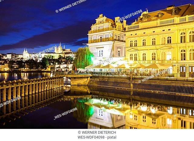 Czech Republic, Prague, Hradcany, castle, Bedrich Smetana Museum and Club Restaurant Lavka at night