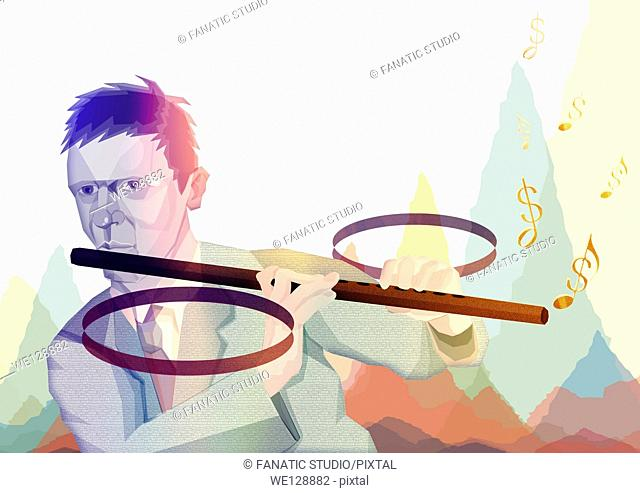 Illustrative image of businessman playing percentage flute representing finance