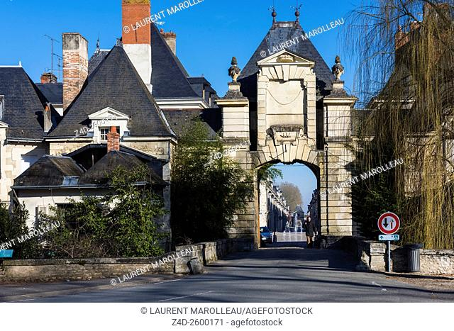 Chatellerault Gate of the City of Richelieu. The City is a Masterpiece of Urban Design of 17th Century (as Ideal City). Richelieu, Indre et Loire department