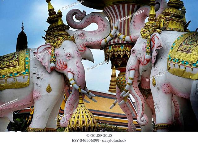 beautiful view of pink elephant statue next to Grand Palace in Bangkok Thailand as religion and culture Asia buddhist symbol and tourism and travel destination...