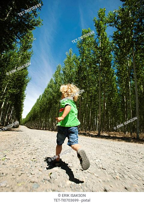Boy 2-3 running up country road