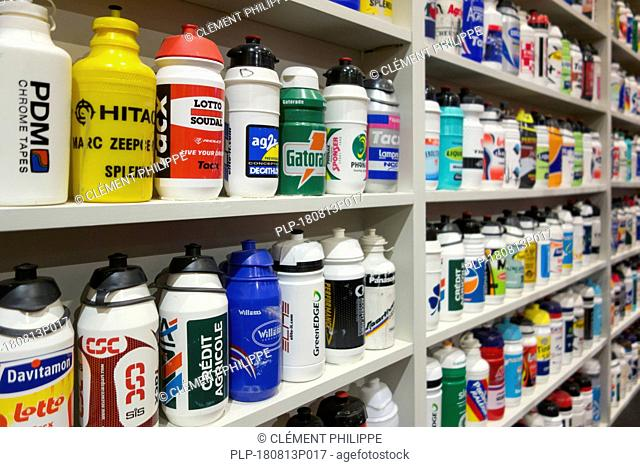 Bidons / water bottles in the Centrum Ronde van Vlaanderen / Tour of Flanders Center, museum dedicated to road cycle racing, Oudenaarde, Belgium