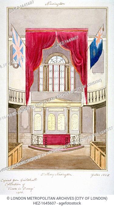 Interior of the Church of St Mary Newington, Newington Butts, Southwark, London, 1825