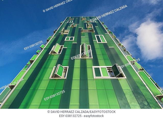Madrid, Spain : Detail of the facade of a green modern residential building in Vallecas district, in Madrid
