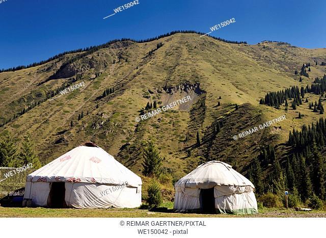 Yurts at a campground of Kaindy Lake in the Kungey Alatau mountain range Kazakhstan