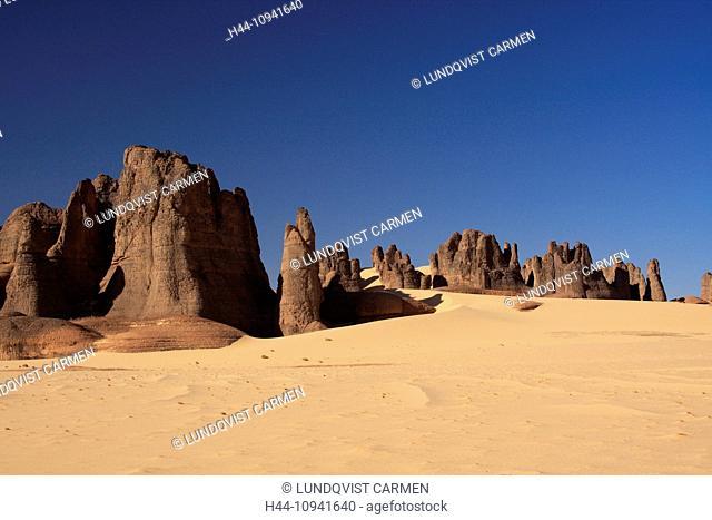 Algeria, Africa, north Africa, desert, sand desert, Sahara, Tamanrasset, Hoggar, Ahaggar, rock, rock formation, Tassili du Hoggar, sand, nature