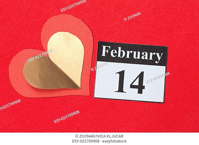 February 14, Valentine's day, heart from red paper