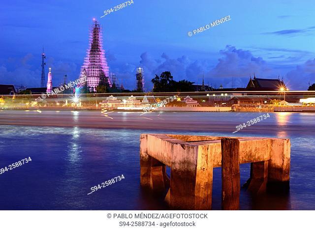 Wat Arun temple and Chao Phraya river, Bangkok, Thailand