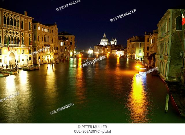 Night time view of grand canal, Venice, Italy