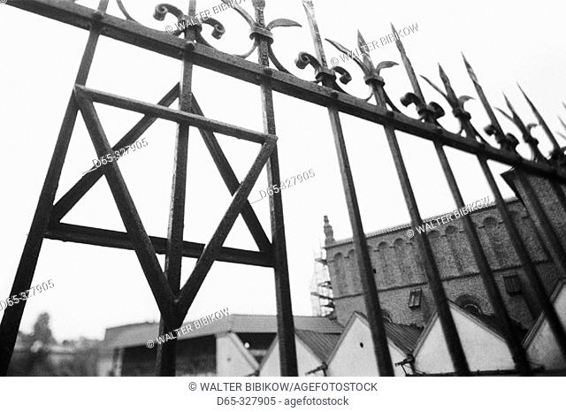 Star of David fence decoration at Kazimierz old Jewish quarter. Krakow. Poland