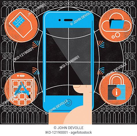 Montage of smart phone, cloud computing, internet security, wireless technology and social networking