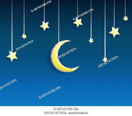 Illustration of Stars and crescent moon hanged a rope on blue background