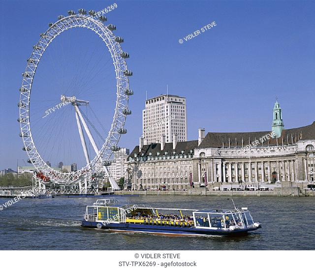 Boat, England, United Kingdom, Great Britain, Holiday, Landmark, London, London eye, Thames river, Tour, Tourism, Travel, Vacati
