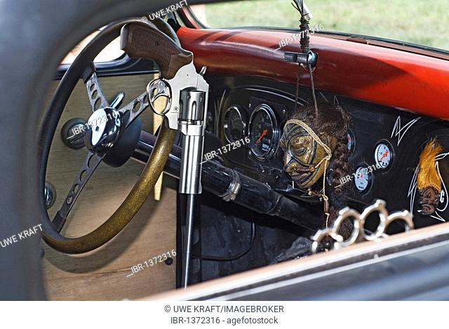 Extraordinarily decorated interior of a tuned car, Hot Rods, Kustoms, Cruisers & Art at the Bottrop Kustom Kulture 2007-Festival on the airfield in...