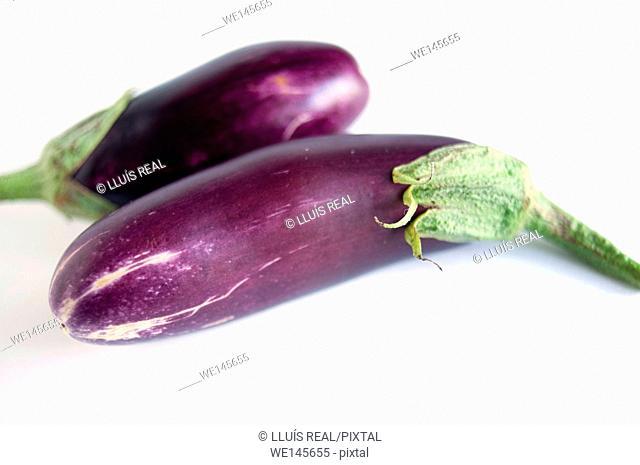 Still life of aubergines on white background