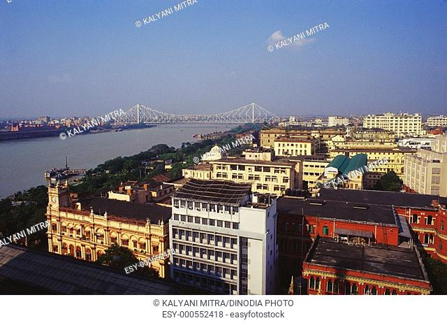 Rabindra bridge , birds eye view , Calcutta Kolkata , West Bengal , India