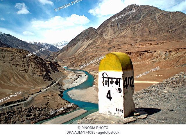 Indus and zanskar rivers ; Nimu ; Leh ; Ladakh ; Jammu and Kashmir ; India 9-April-2008