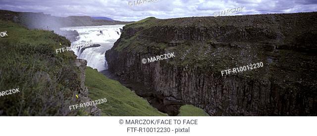 Panorama from a water fall, Gulfoss water fall, Island