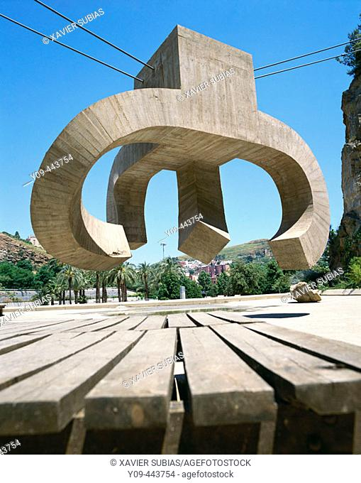 'Elogio del agua' (Praise of Water), sculpture by Eduardo Chillida. Parc de la Creueta del Coll, Barcelona, Spain