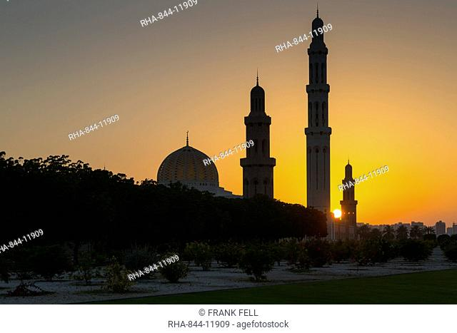 View of Sultan Qaboos Grand Mosque at sunset, Muscat, Oman, Middle East