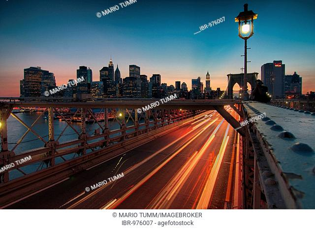 Brooklyn Bridge and Manhattan at dusk, New York, USA