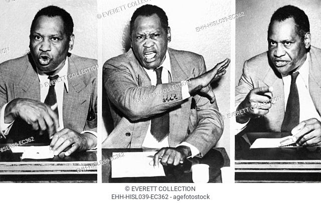 Paul Robeson, speaks to reporters after the Peekskill, N.Y. riot on Aug. 27, 1949. The violence prevented a Robeson concert to benefit the Civil Rights Congress