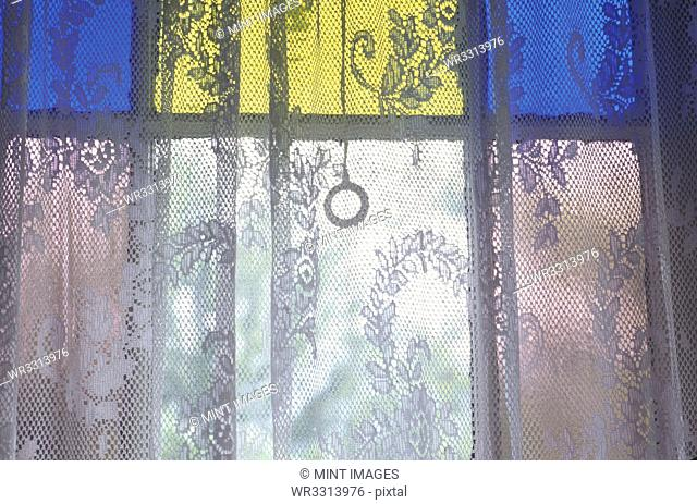 Lace Curtain and Stained Glass Window Panes